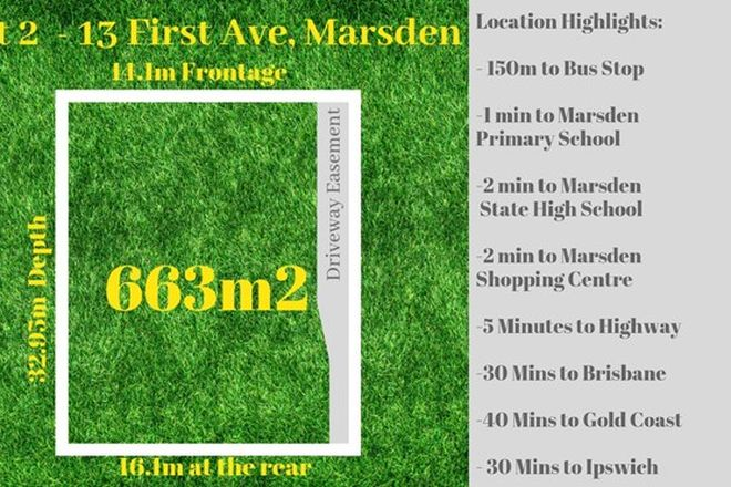Picture of Lot 2/13 First Avenue, MARSDEN QLD 4132
