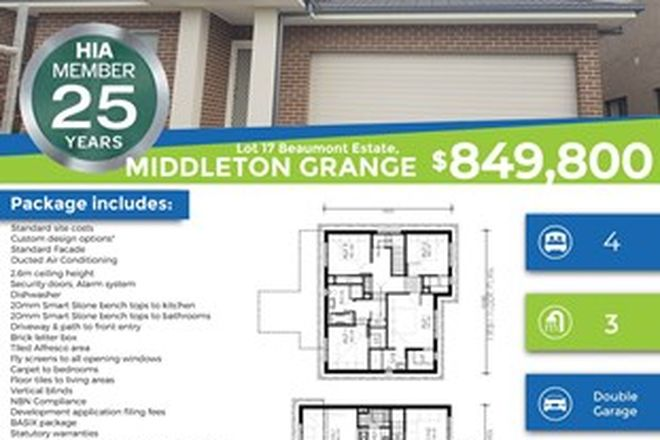 Picture of Lot 17 Beaumont Estate, MIDDLETON GRANGE NSW 2171